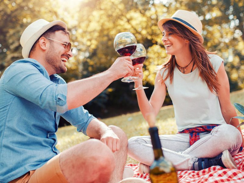 Picnic time. Young couple enjoying in moments of happiness and toasting with wine glasses. Love and tenderness, dating, romance, lifestyle concept